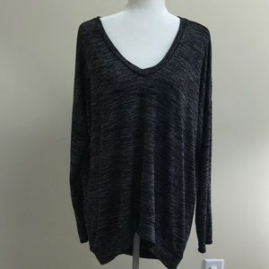 Joan Vass sweater gray/white hi-low size XL